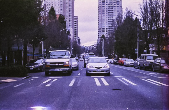 city intersections on Expired Kodak Gold Film