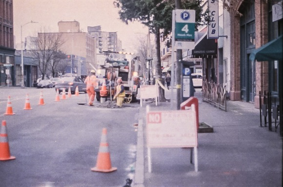 city workers on Expired Kodak Gold Film