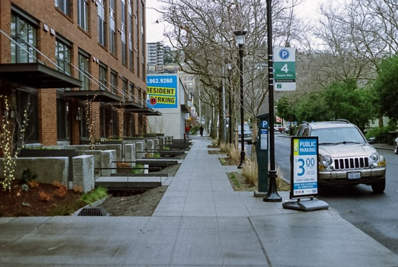 a downtown sidewalk in seattle
