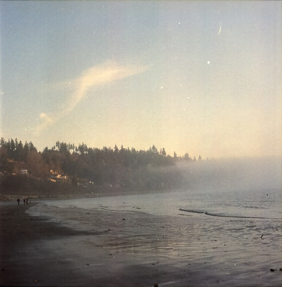 Yashica Mat-124G film image foggy beach sunset