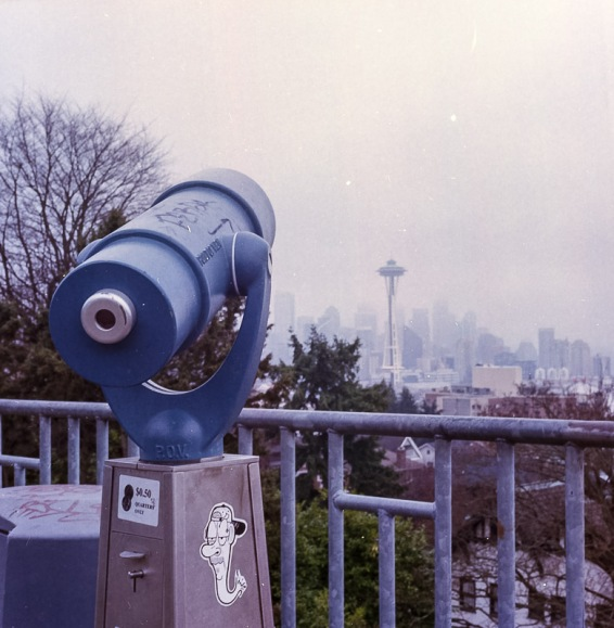 Yashica Mat-124G film image overlooking the space needle from Kerry Park in Seattle