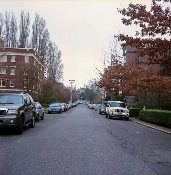 Yashica Mat-124G film image down a car lined street