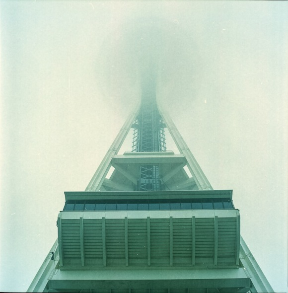 foggy space needle  taken using a Yashica Mat-124G and Kodak Portra